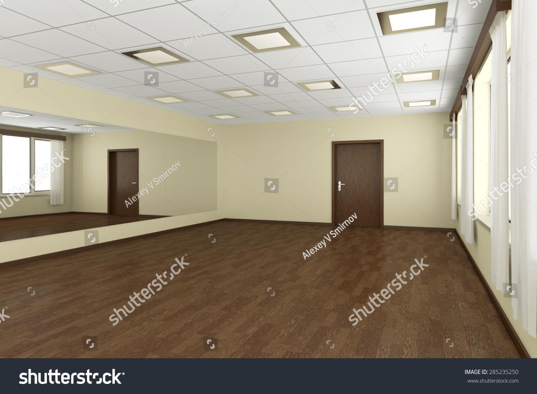 Stock Empty Living Room Dark Hardwood Floors