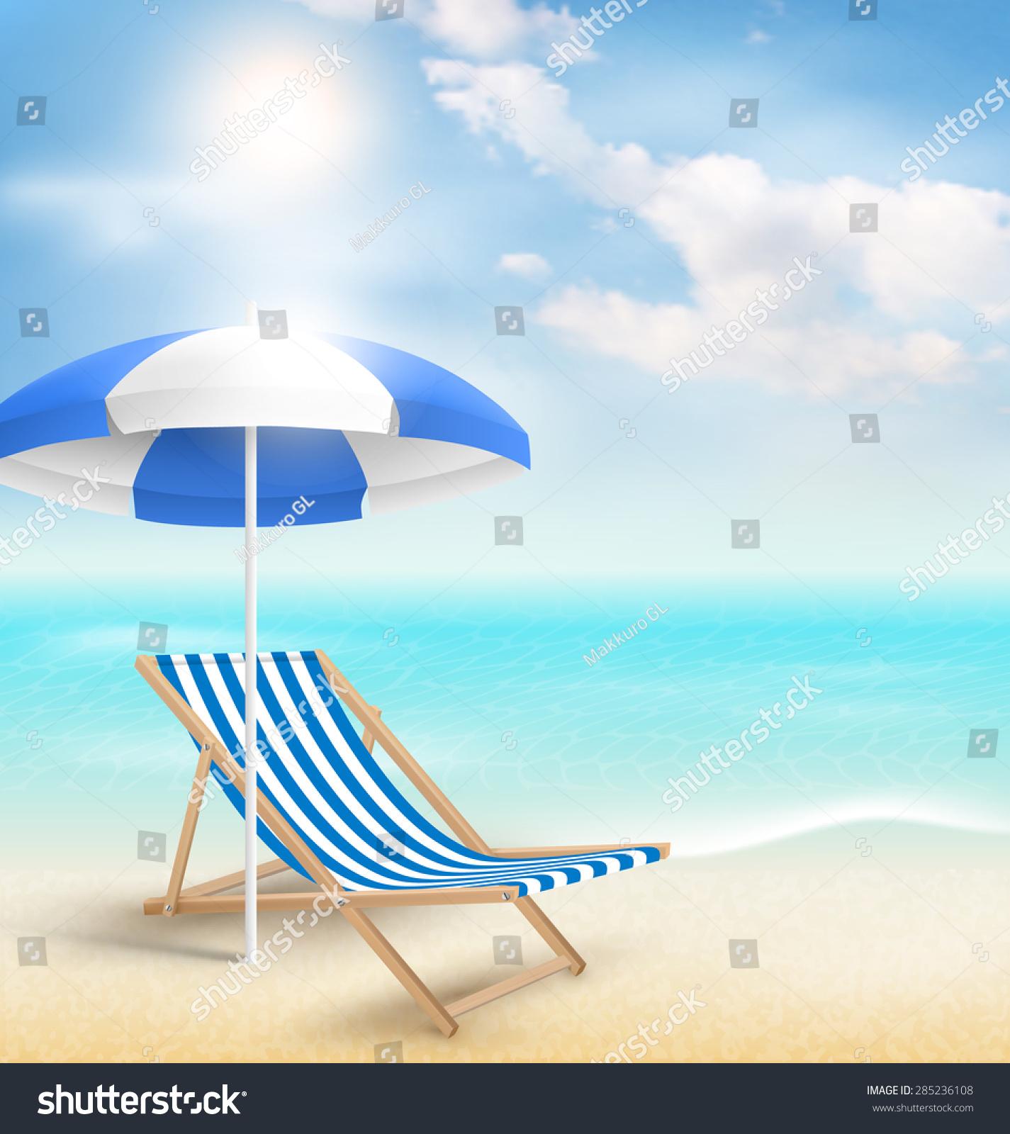 Beach Sun Beach Umbrella Beach Chair Stock Vector