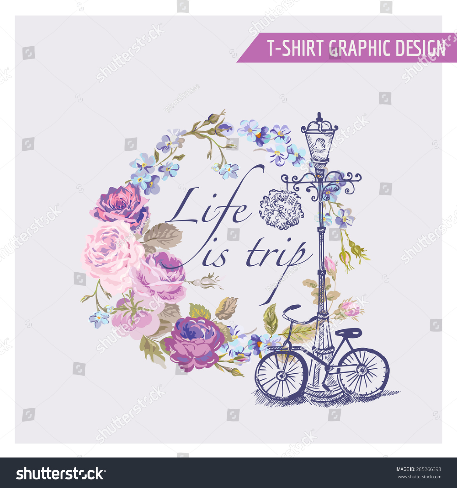 Floral shabby chic graphic design tshirt stock vector for Shutterstock t shirt design