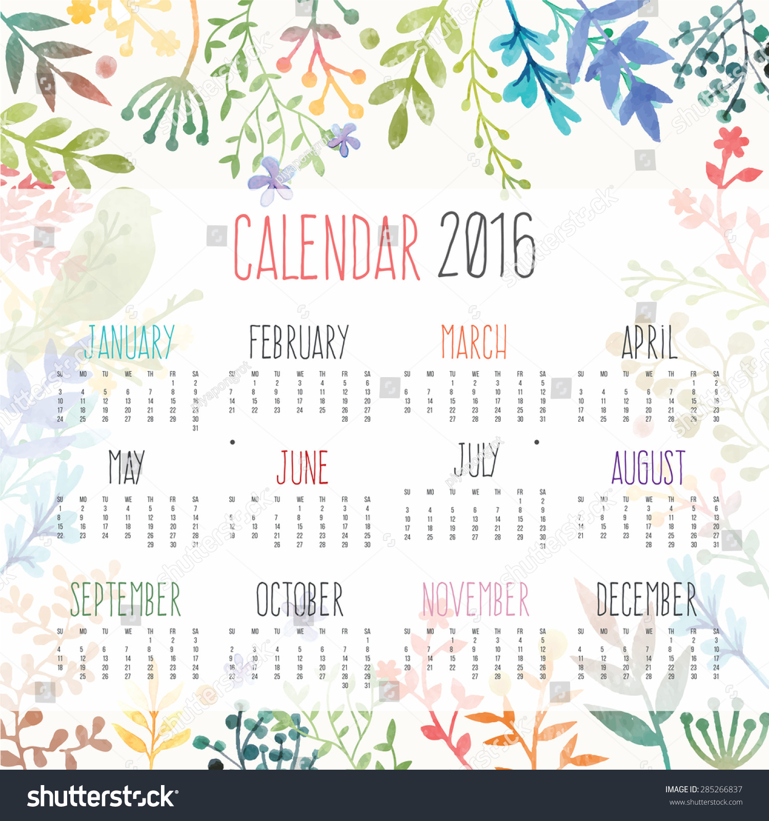 Calendar For 2016 With Flower Stock Vector Illustration 285266837 ...