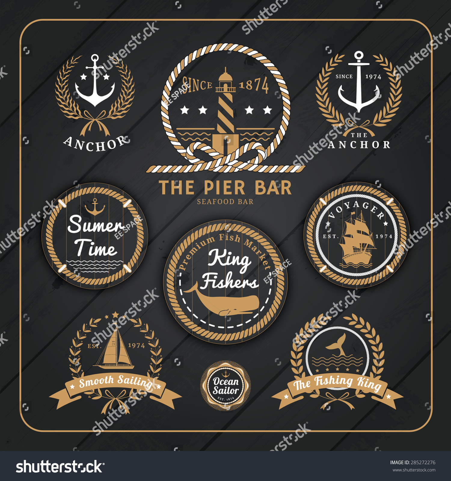 vintage nautical anchor labels logo rope stock vector