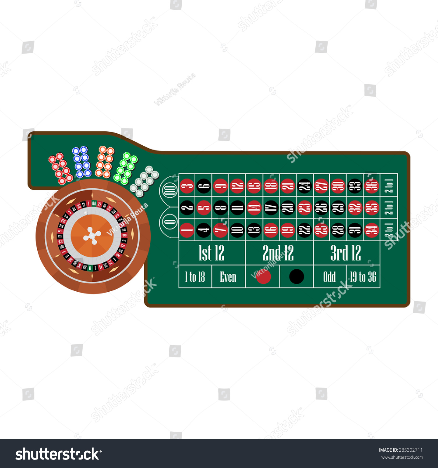 Traditional european roulette table vector illustration stock vector - American Roulette Table With Roulette Wheel And Ball Different Colors Chips Vector Illustration Gambling