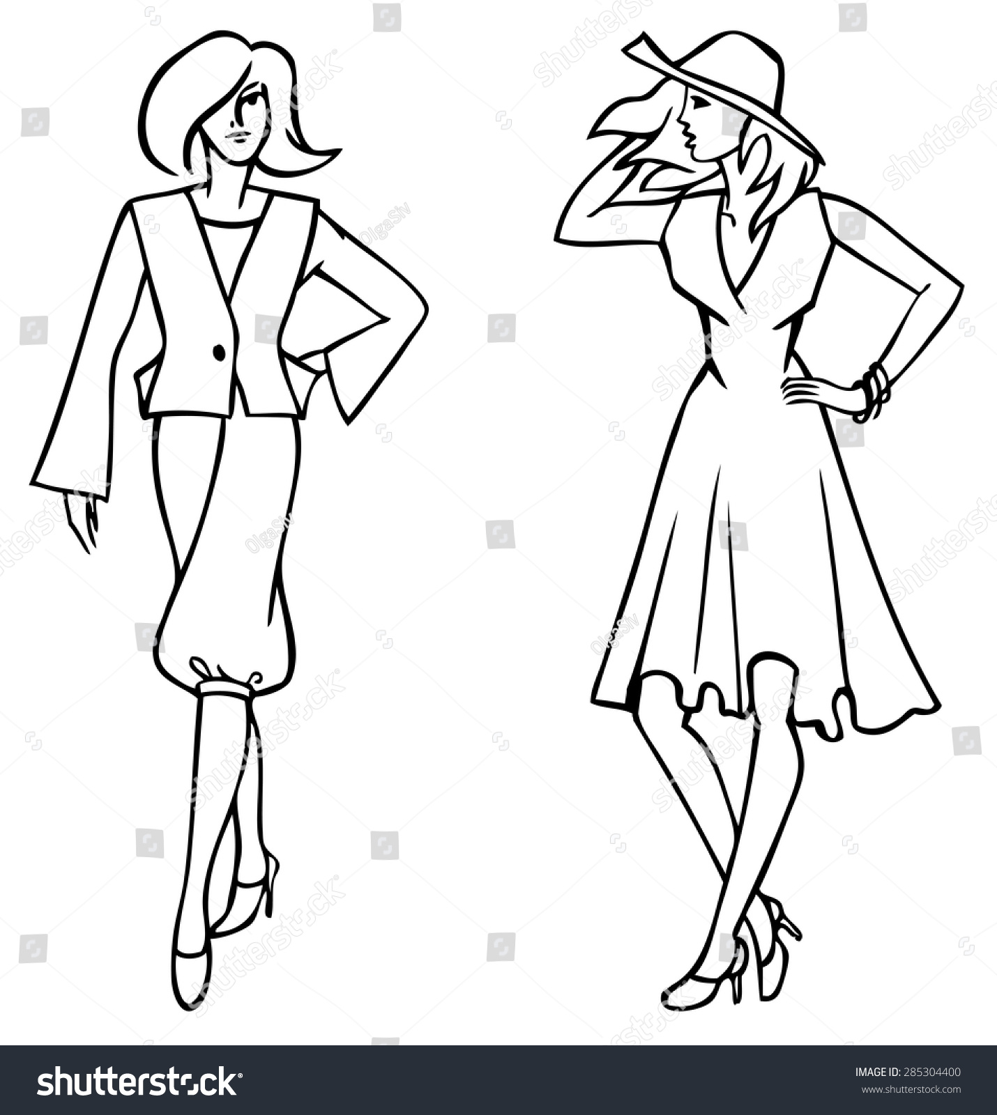 Figure Drawing Shapely Women Different Clothes Stock Vector Royalty