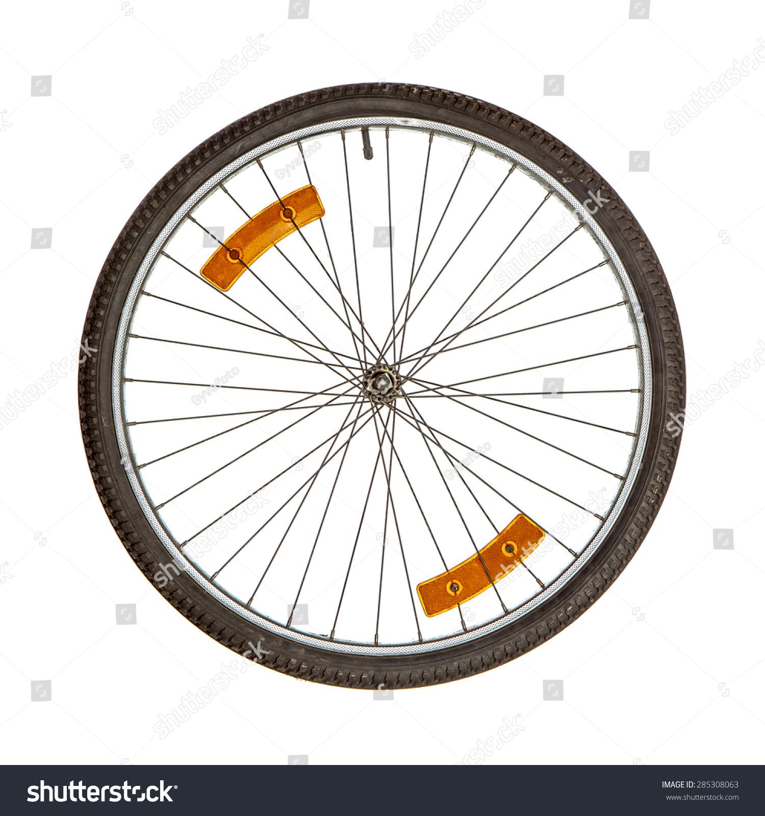 Bicycle Wheel Two Orange Reflectors On Stock Photo 285308063