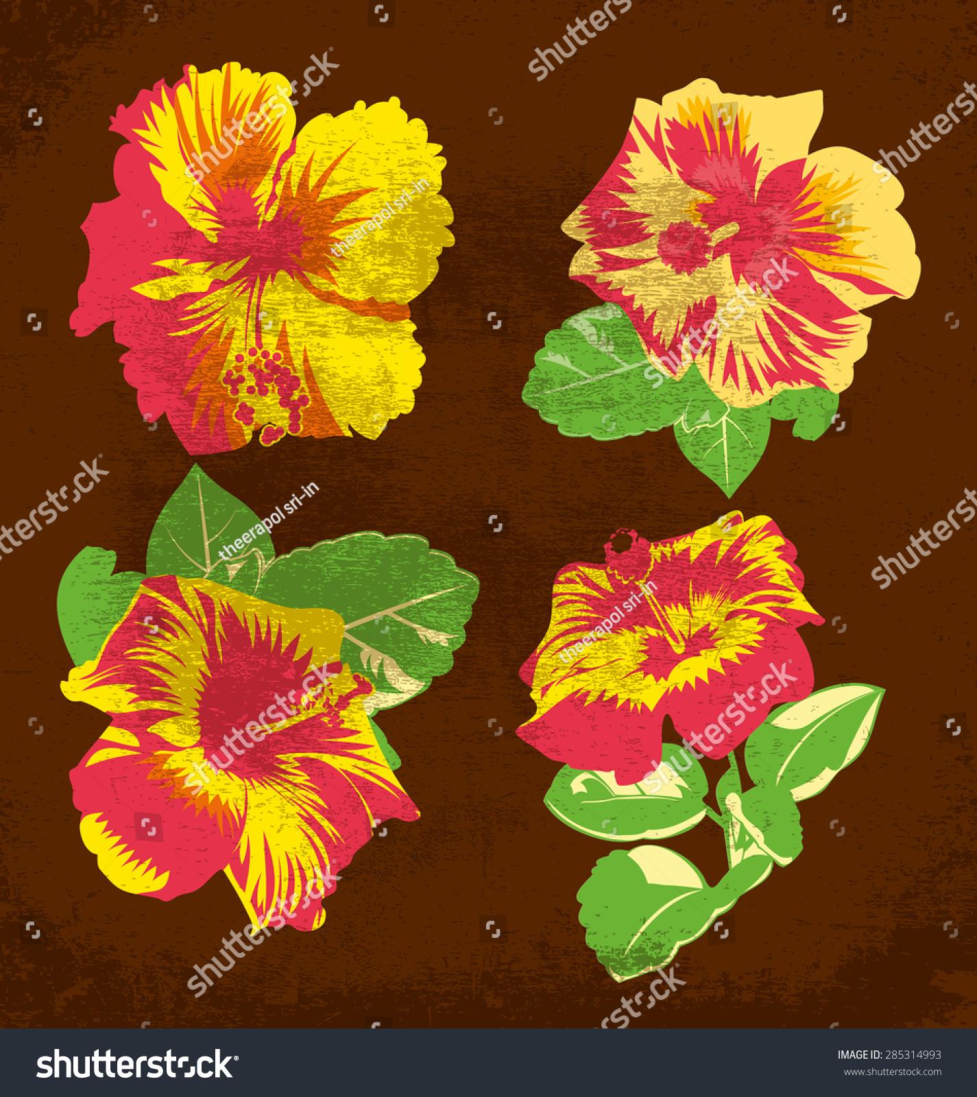 Vector illustration hibiscus hawaiian tropical flowers stock vector vector illustration of hibiscus hawaiian tropical flowers izmirmasajfo