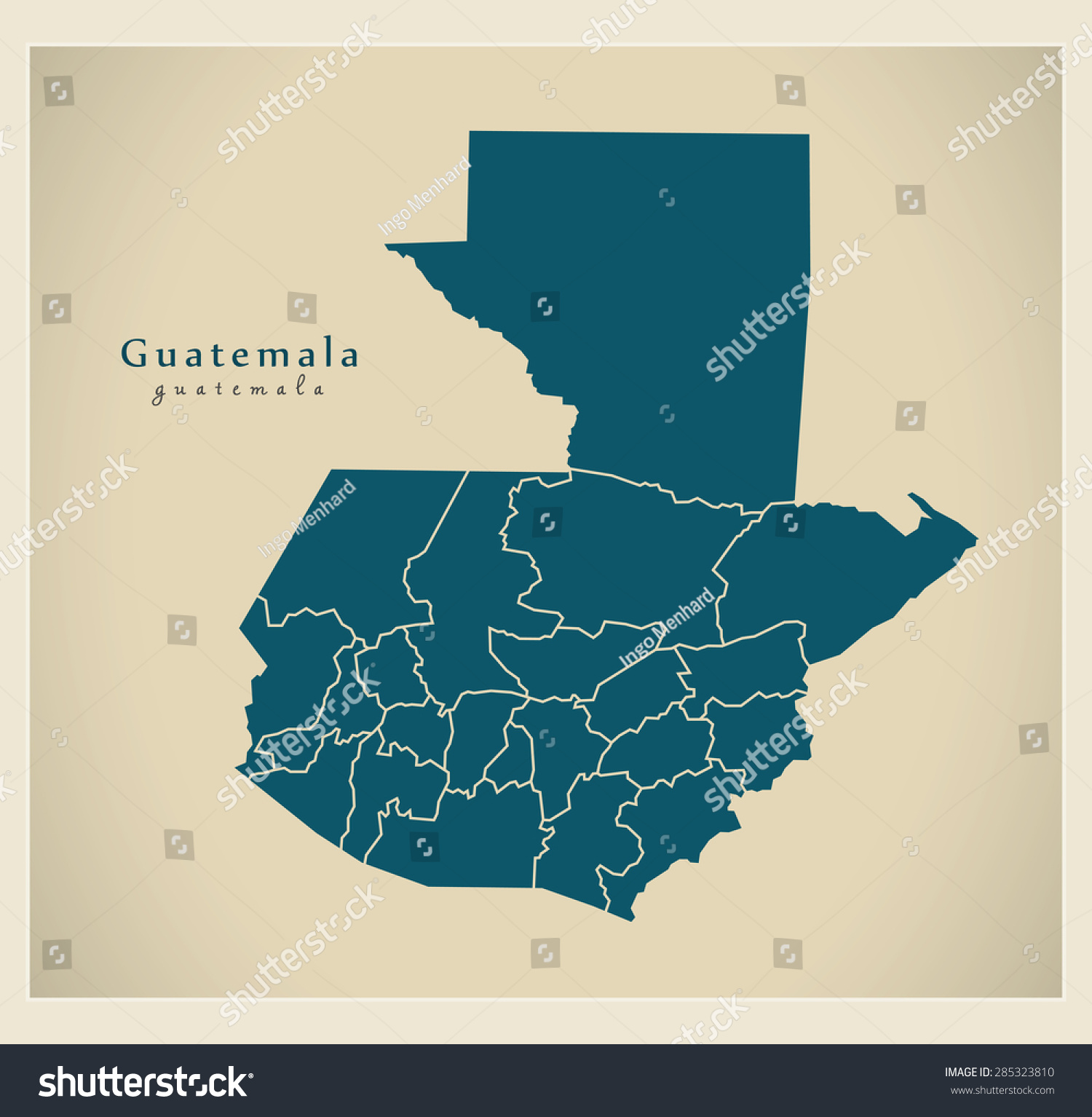 Modern Map Guatemala Departments Gt Stock Vector - Departments map of guatemala