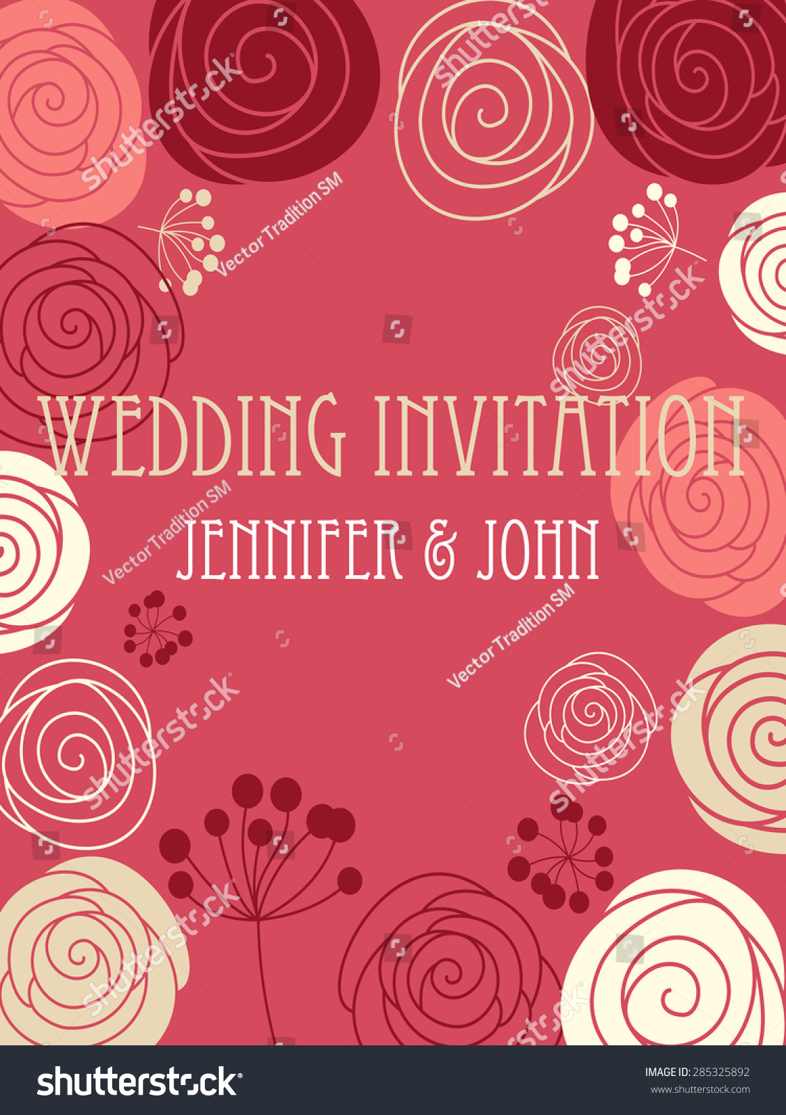 Wedding Invitation Card Template Stylized Floral Stock Vector ...