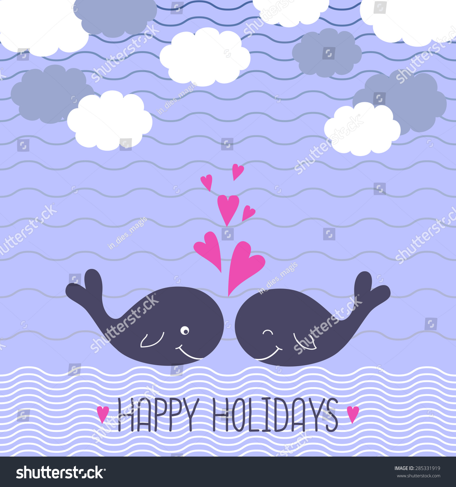 Summer Card Cute Cartoon Whales Love Stock Vector (2018) 285331919 ...