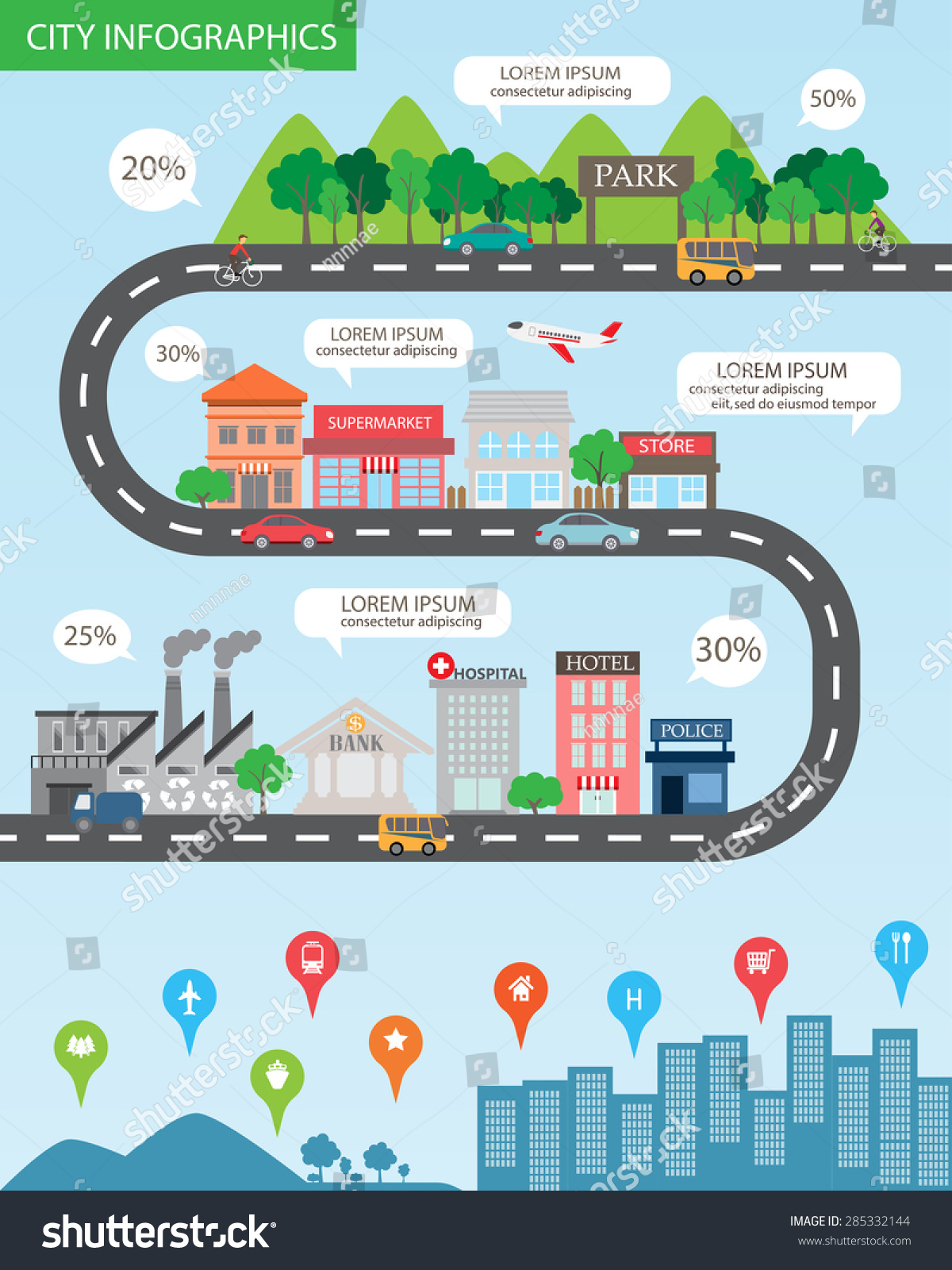 city infographics background elements there village stock