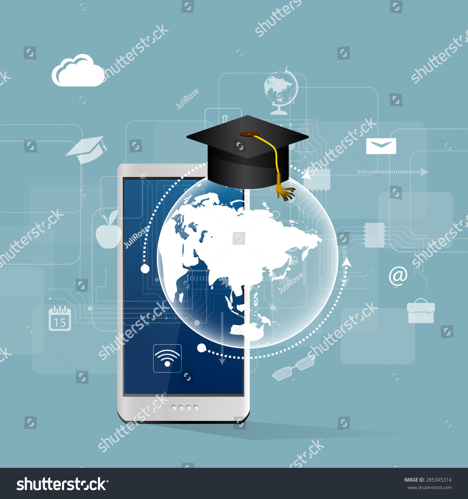 Education Online Learning Tree Knowledge Icons Stock Illustration ...