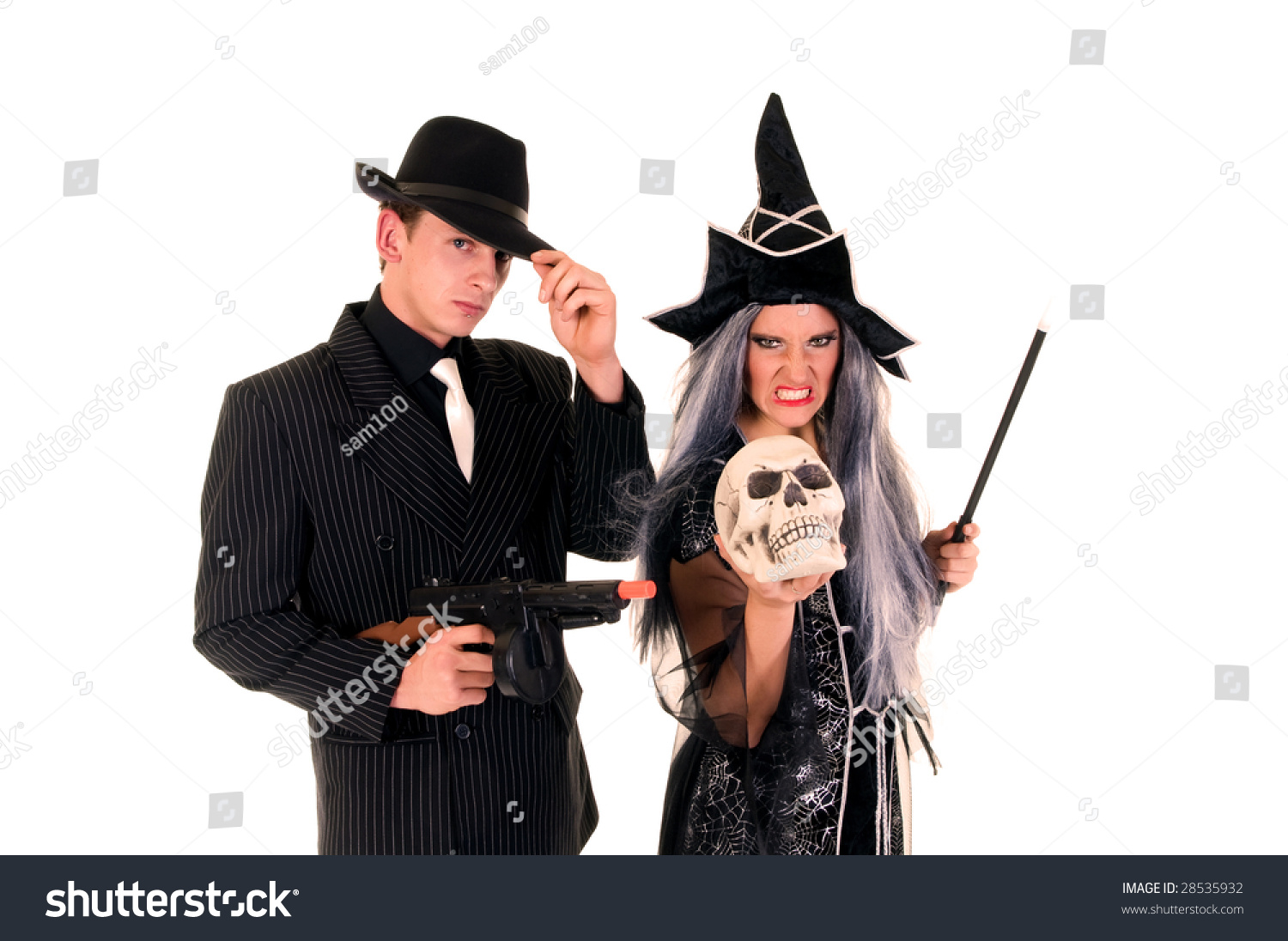 Attractive Young Halloween Couple Mafia Suit Stock Photo 28535932 ...