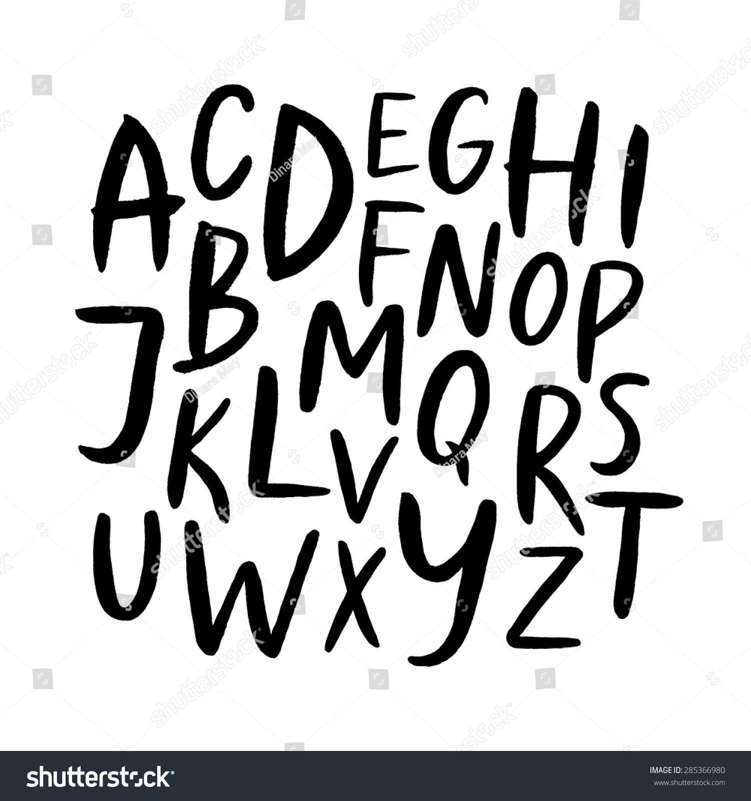 Worksheet Handwritten Alphabet handwritten alphabet ink hand lettering modern stock vector brush drawn uppercase letters