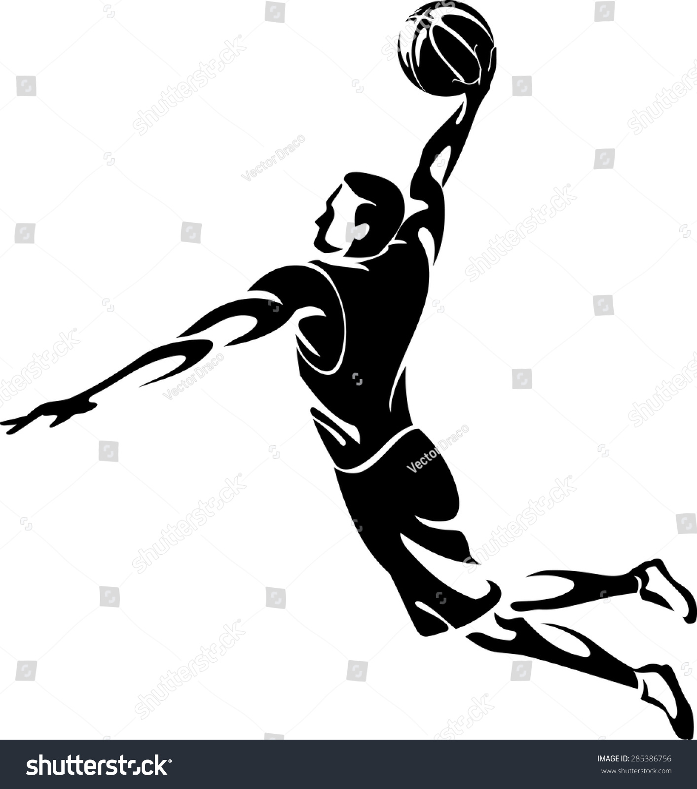 how to draw dunk silhouette