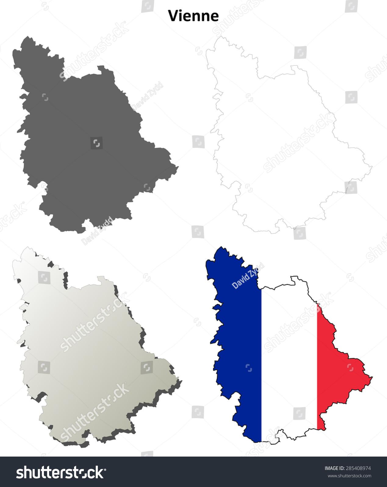 Vienne Poitoucharentes Outline Map Set Stock Photo Photo Vector