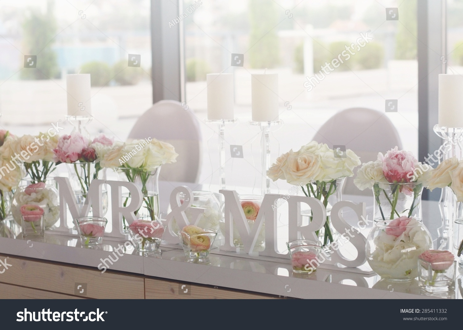 Mr Mrs Wedding Table Decorations Wedding Stock Photo Edit Now