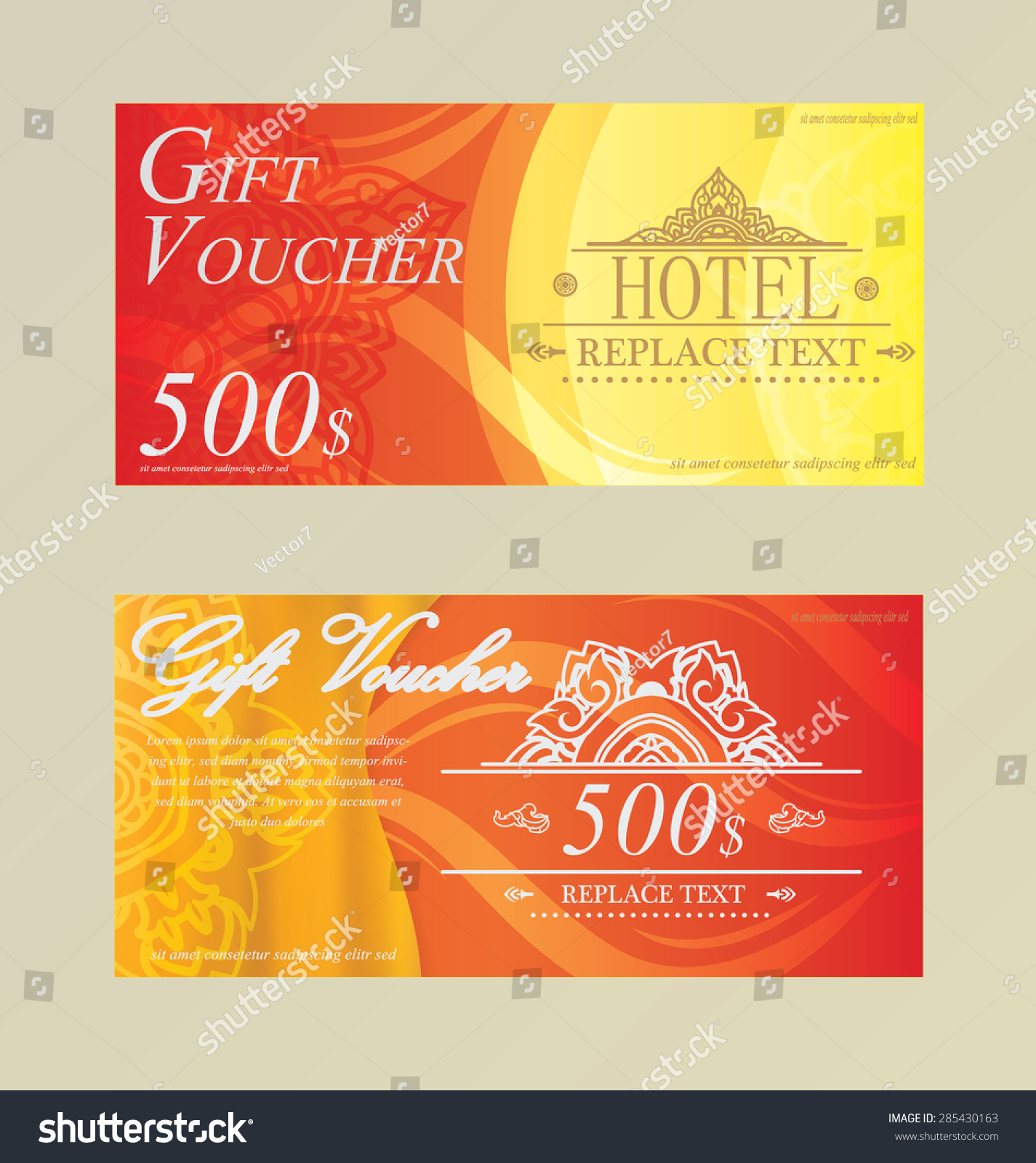 Gift certificate voucher coupon card hotel stock vector 285430163 gift certificate voucher coupon card hotel restaurant thai xflitez Images