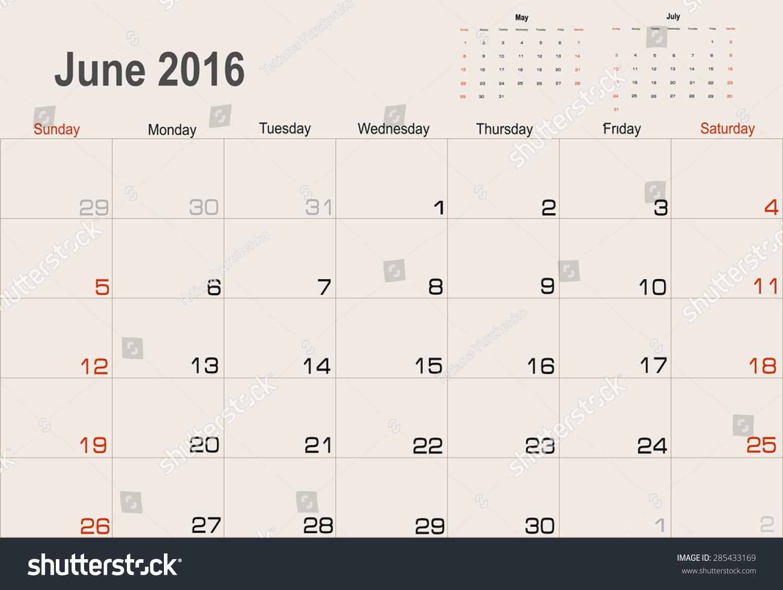 June Calendar Vector : Vector planning calendar june  shutterstock