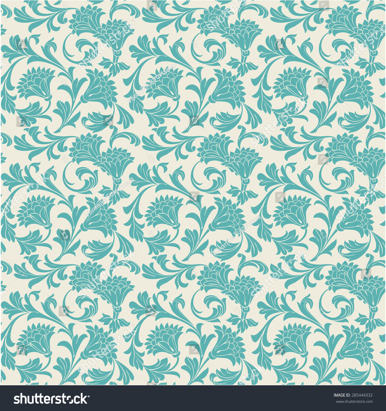 Seamless Vintage Floral Wallpaper Pattern Vector Stock Vector