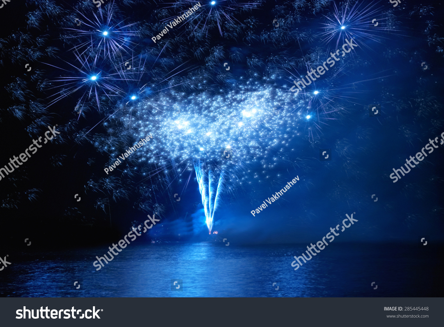 Wallpaper Salute Sky Holiday Colorful 3376x4220: Blue Holiday Fireworks On Black Sky Stock Photo 285445448