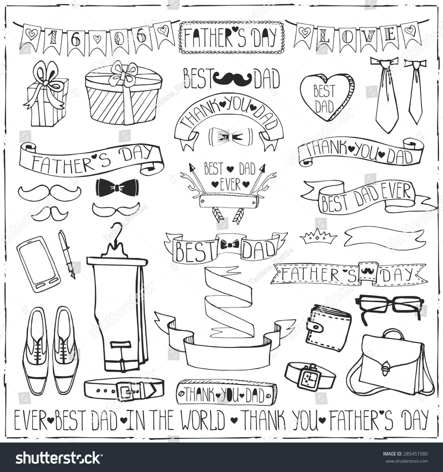 Doodle VectorFathers Day Decor Elements And Lettering SetLinear Hand Drawing Ribbons Banner