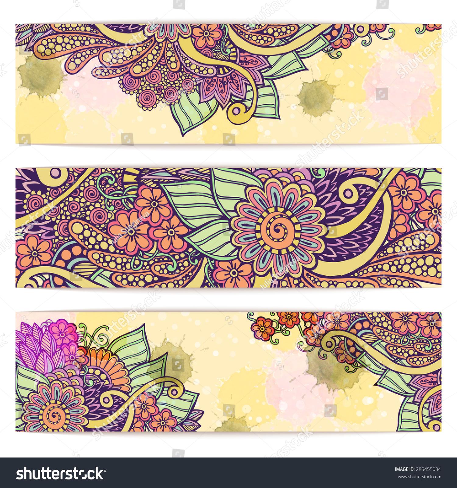 Paisley Floral Batik Background Set Three Stock Vector