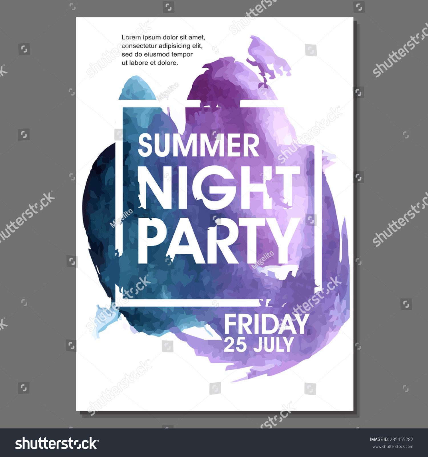 Night Party Vector Flyer Template Eps10 Stock Vector