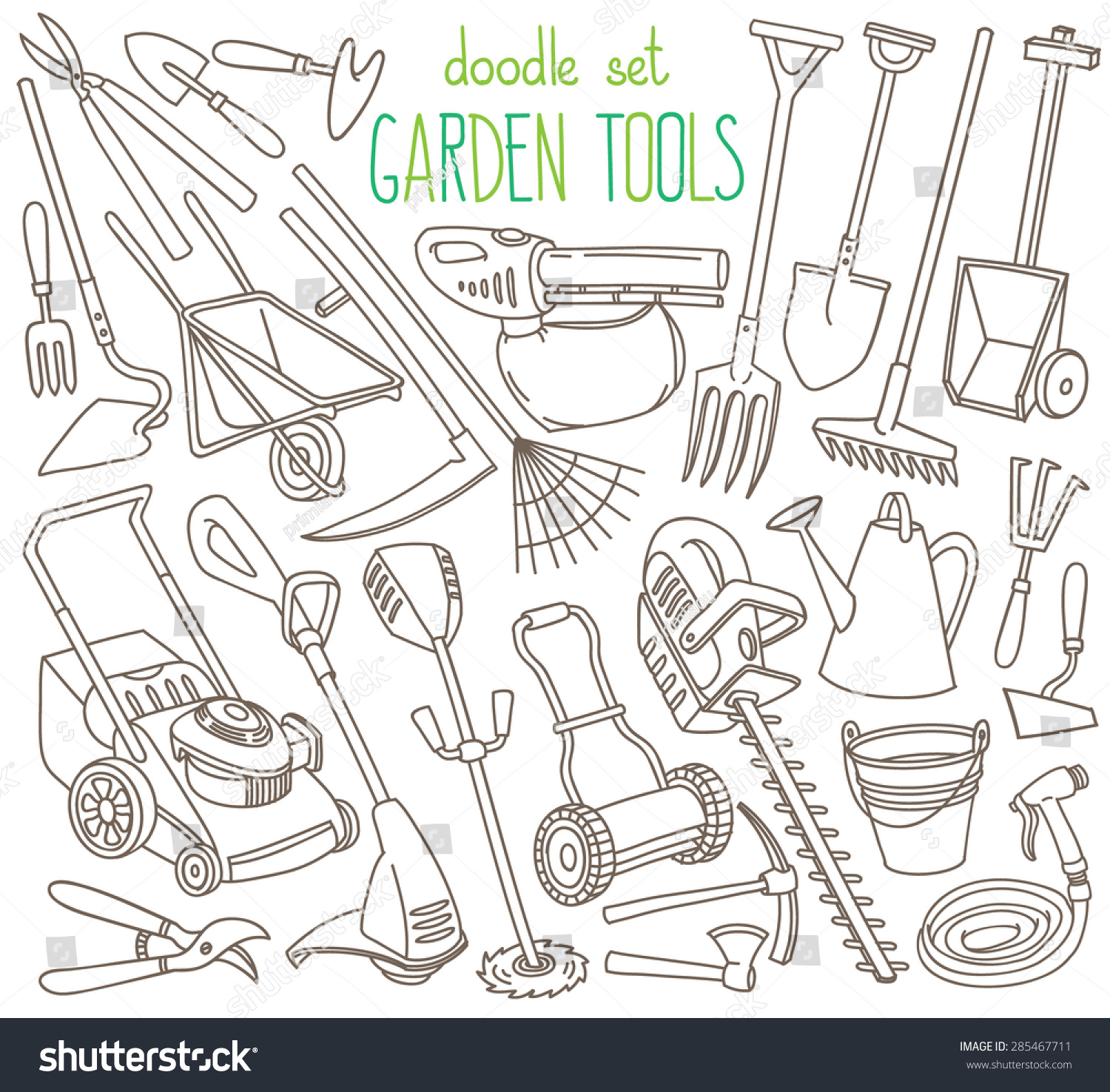 Garden tools doodle set various equipment stock vector for Gardening tools drawing with names