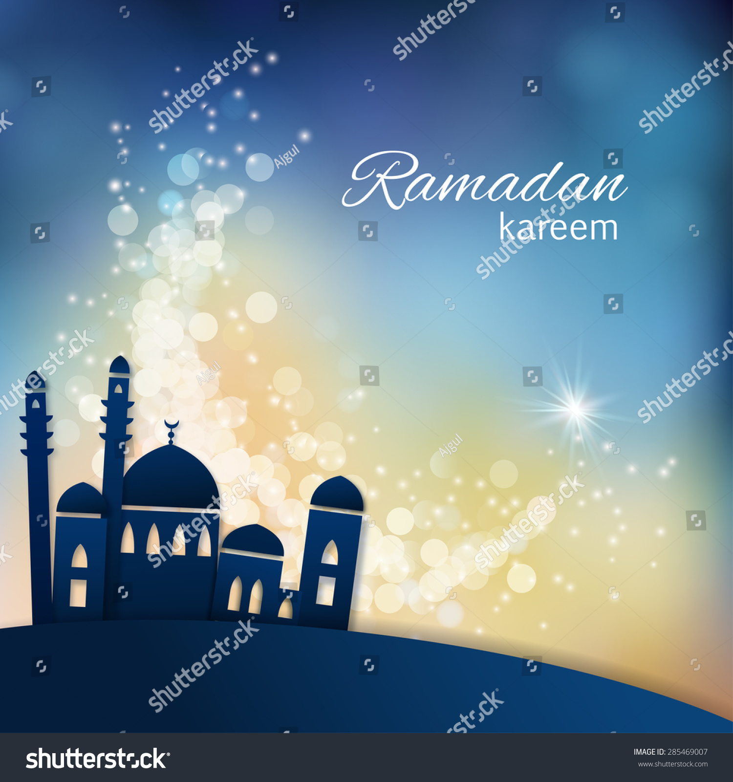 Ramadan greetings background View of mosque in shiny blue night background Vector illustration