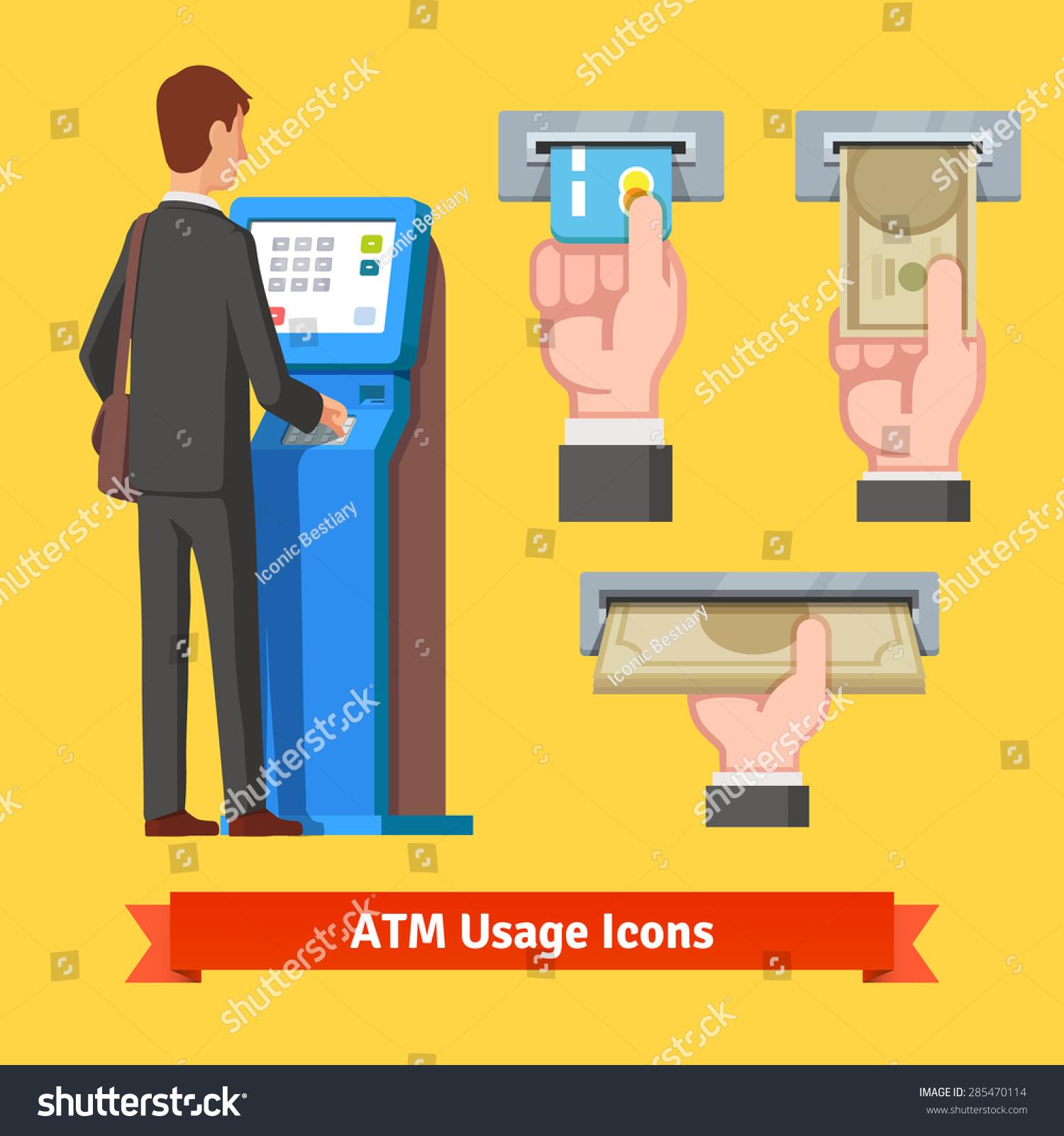 Technology Management Image: Businessman Using Modern Atm Machine. Money Deposit And
