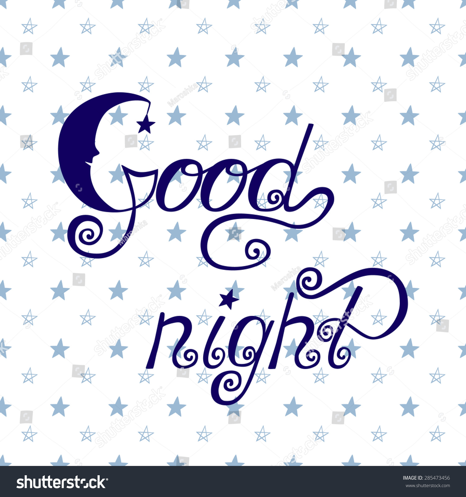 Good Night Word Written Calligraphy Style Stock Vector