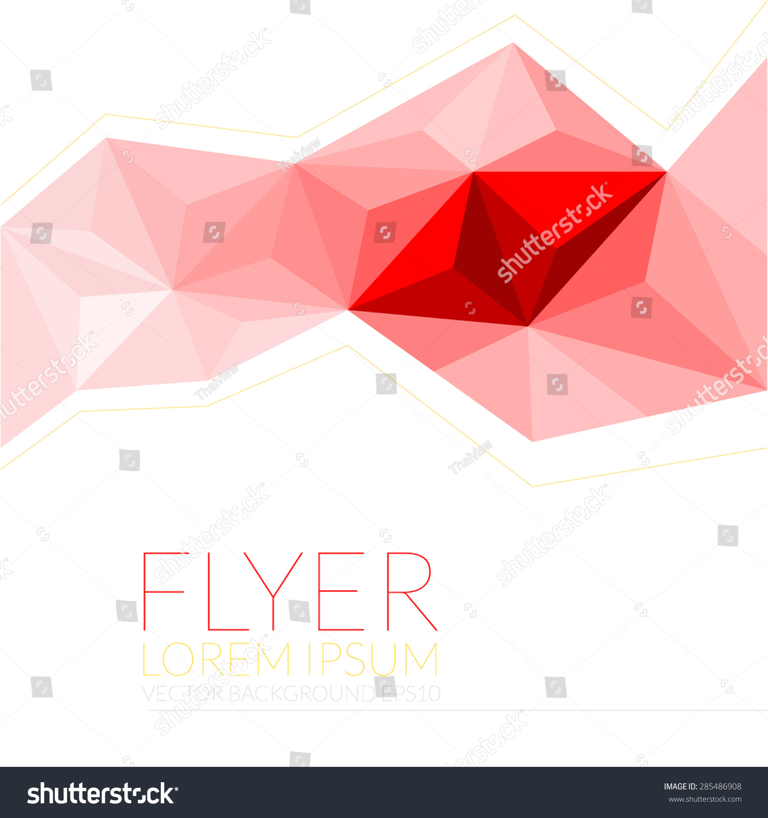 Red Polygon Background Flyer Template Brochure Vector – Geometric Flyer Template
