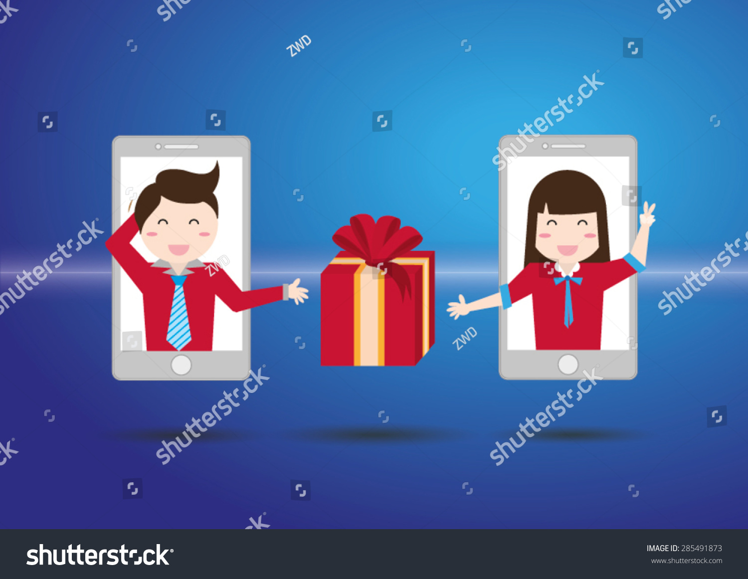 Man send gift woman on mobile stock vector 285491873 shutterstock man send gift to woman on mobile network negle Gallery