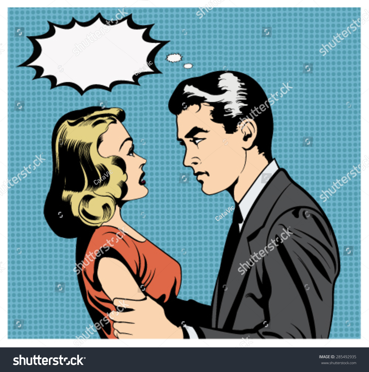illustration couple arguing pop artcomic style stock vector royalty
