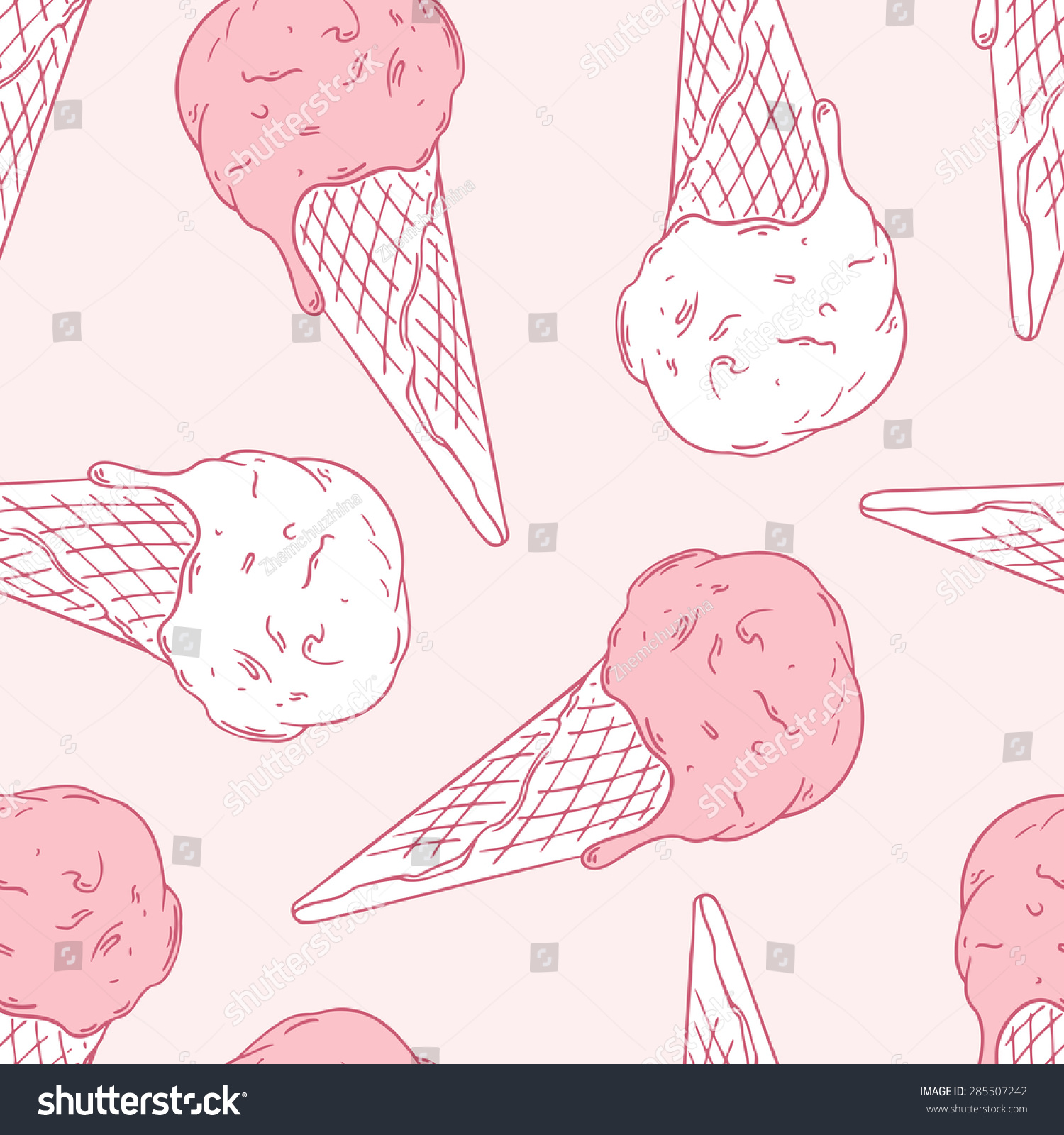 Ice Cream Cones Seamless Pattern Background Stock Vector: Hand Drawn Ice Cream In A Waffle Cone. Outline Seamless