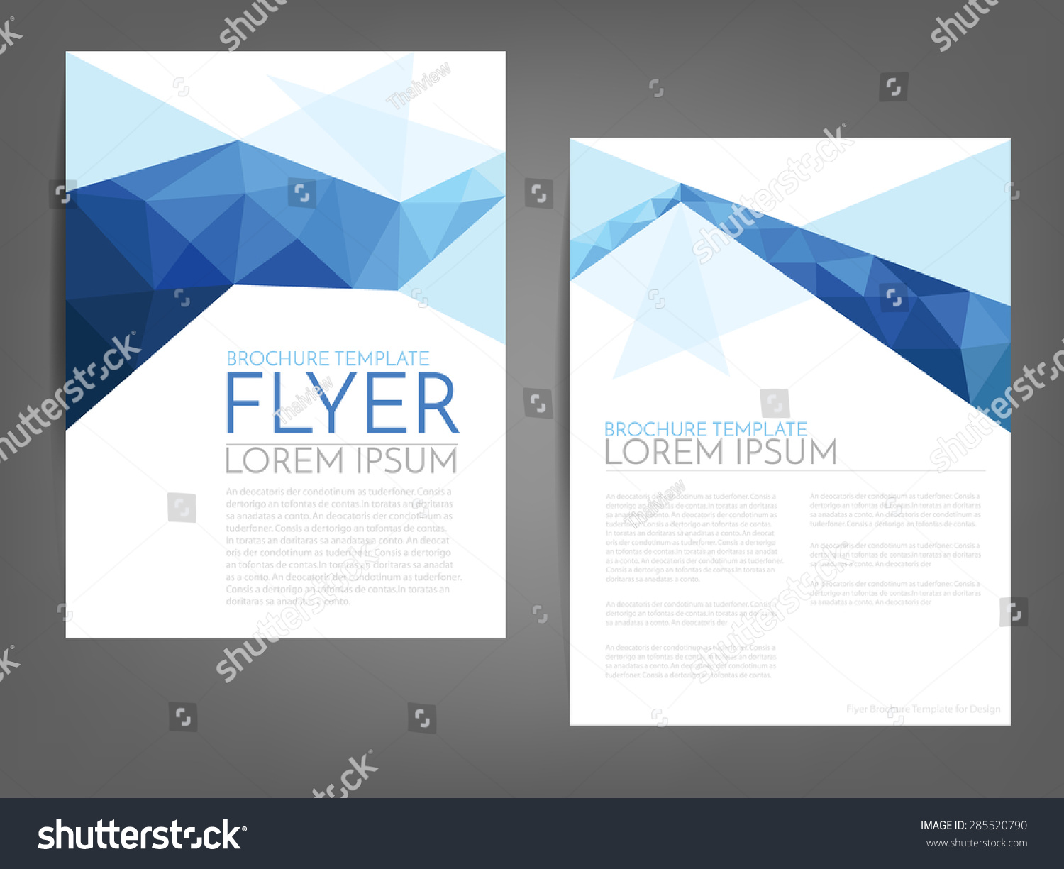 Blue Polygonal Line Brochure Template Flyer Stock Vector