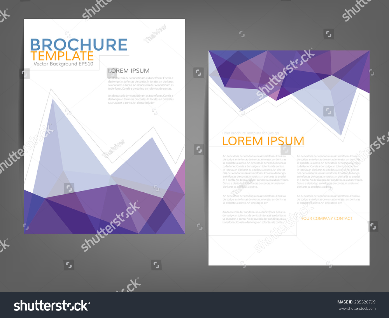 purple polygonal brochure template flyer background design