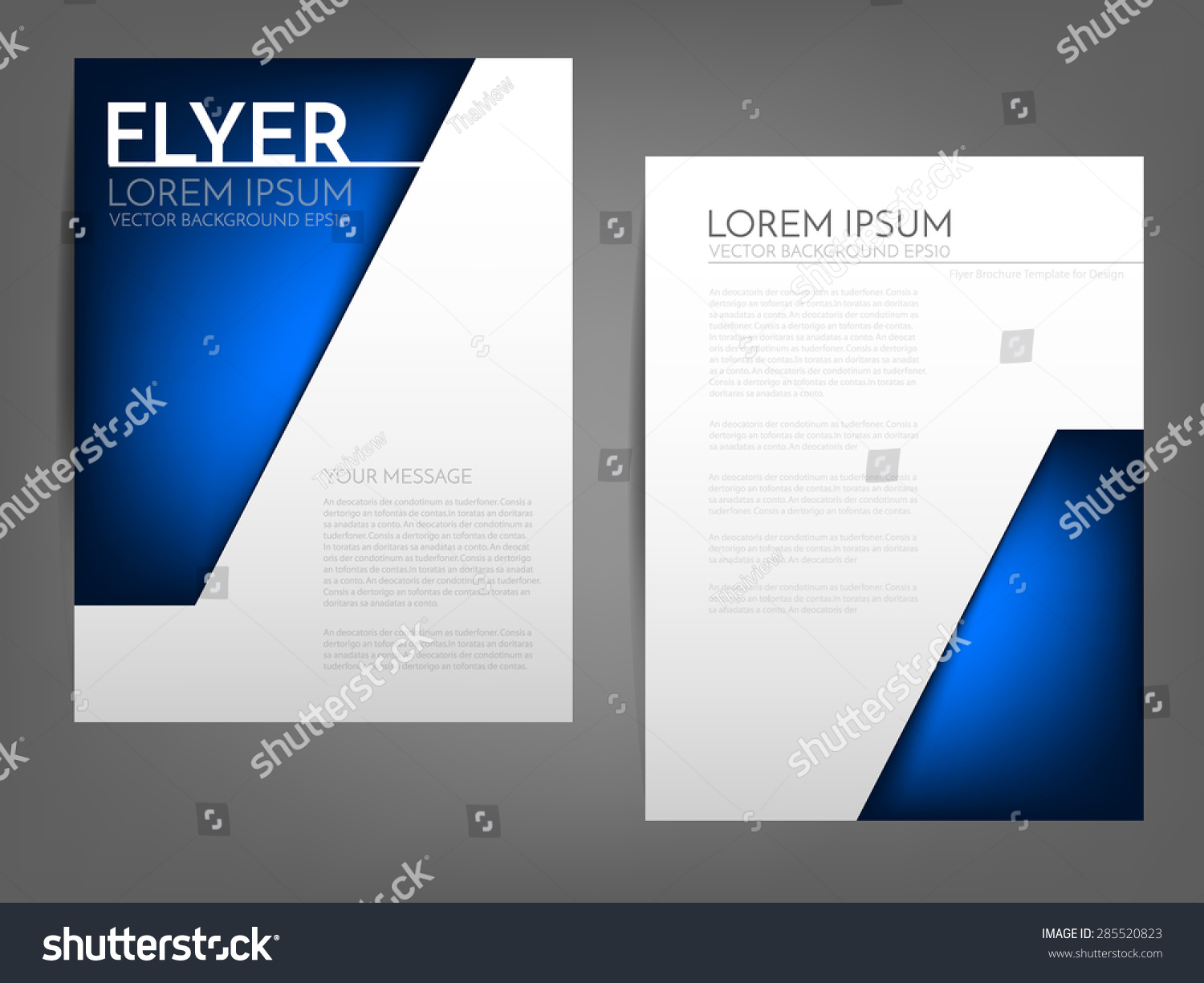 Blue Angle Brochure Template Flyer Background Stock Vector ...