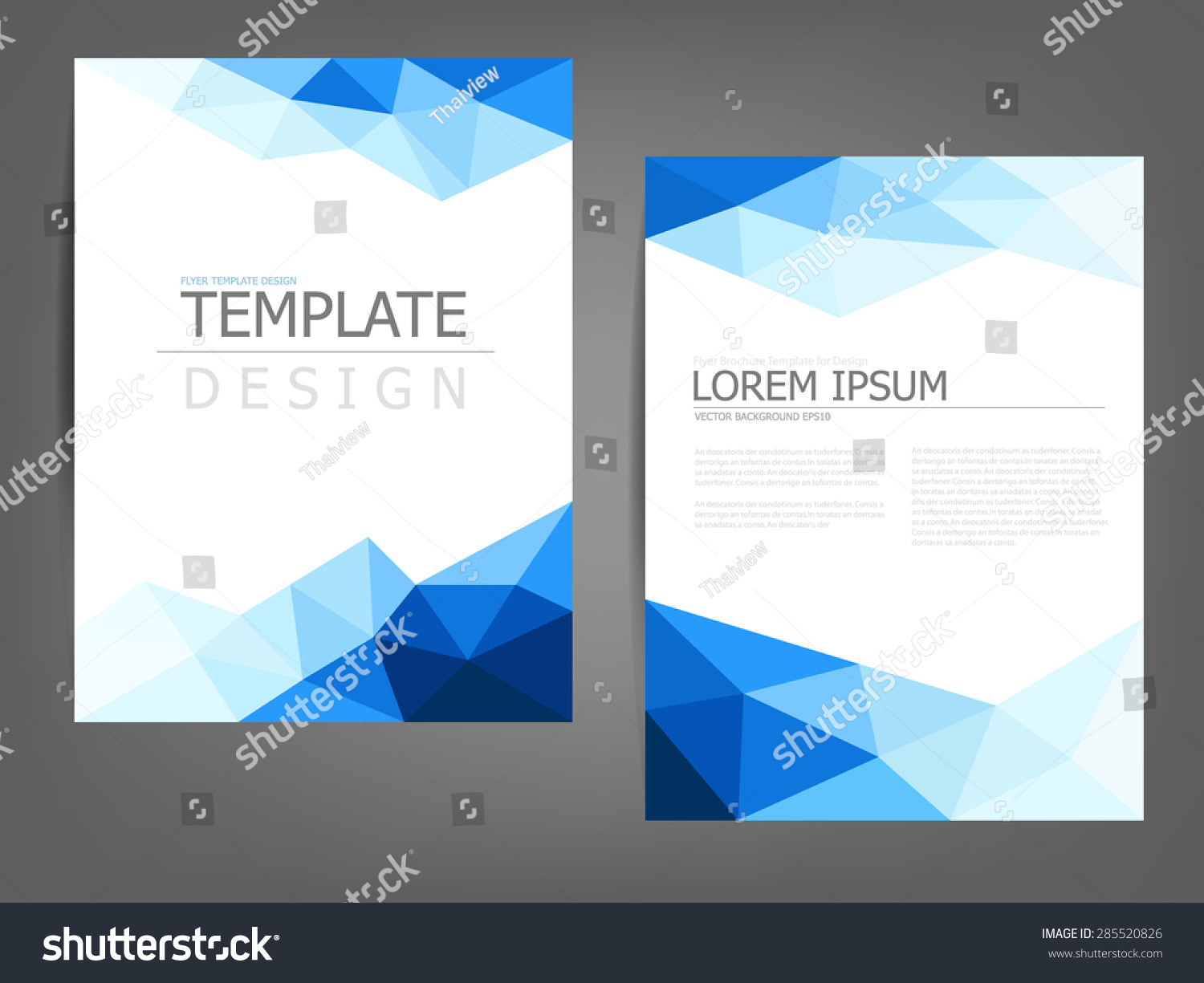Blue polygonal brochure template flyer background lager for Background brochure templates
