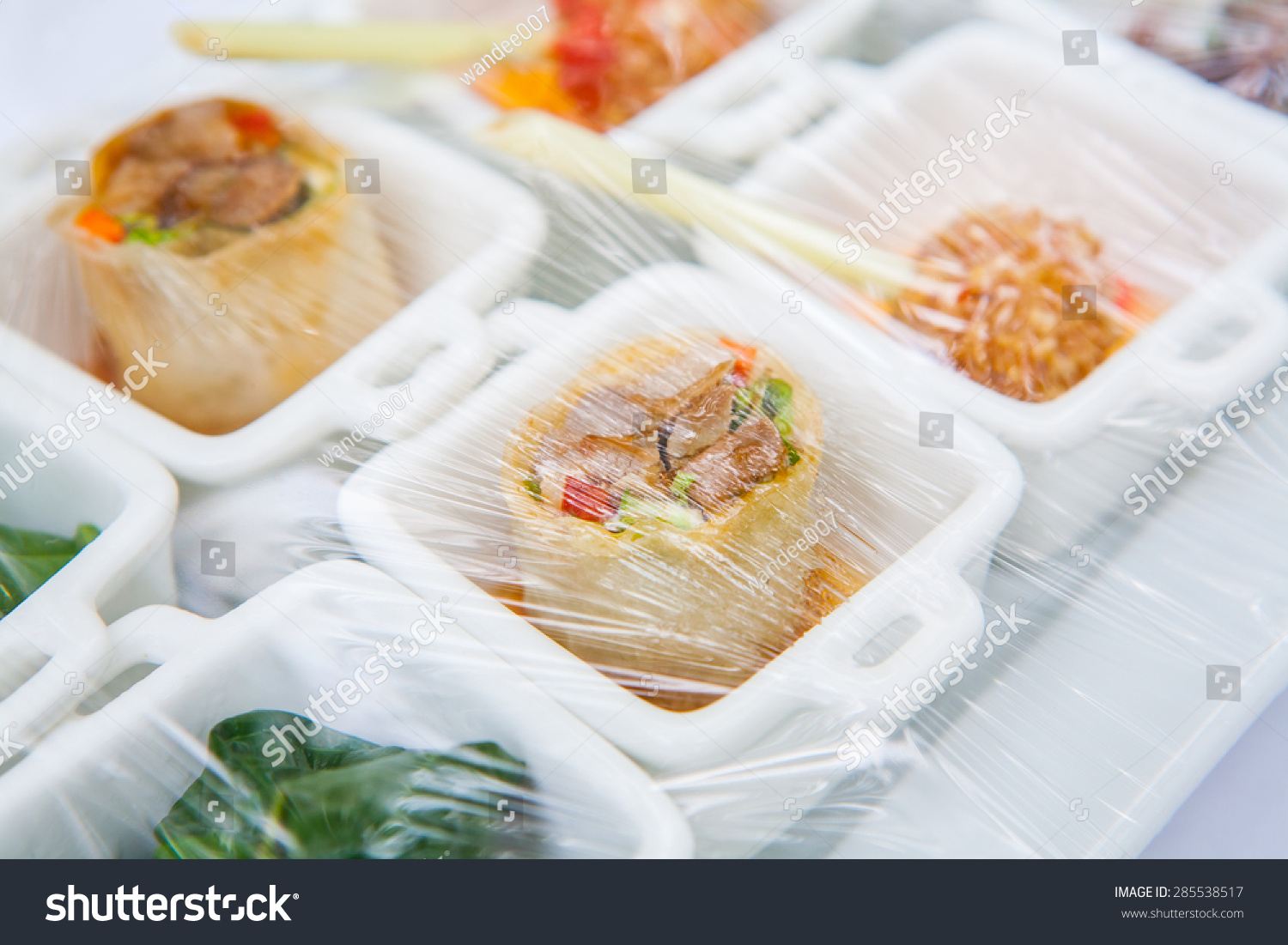 Canape decoration foods that wrapped plastic stock photo for Plastic canape dishes