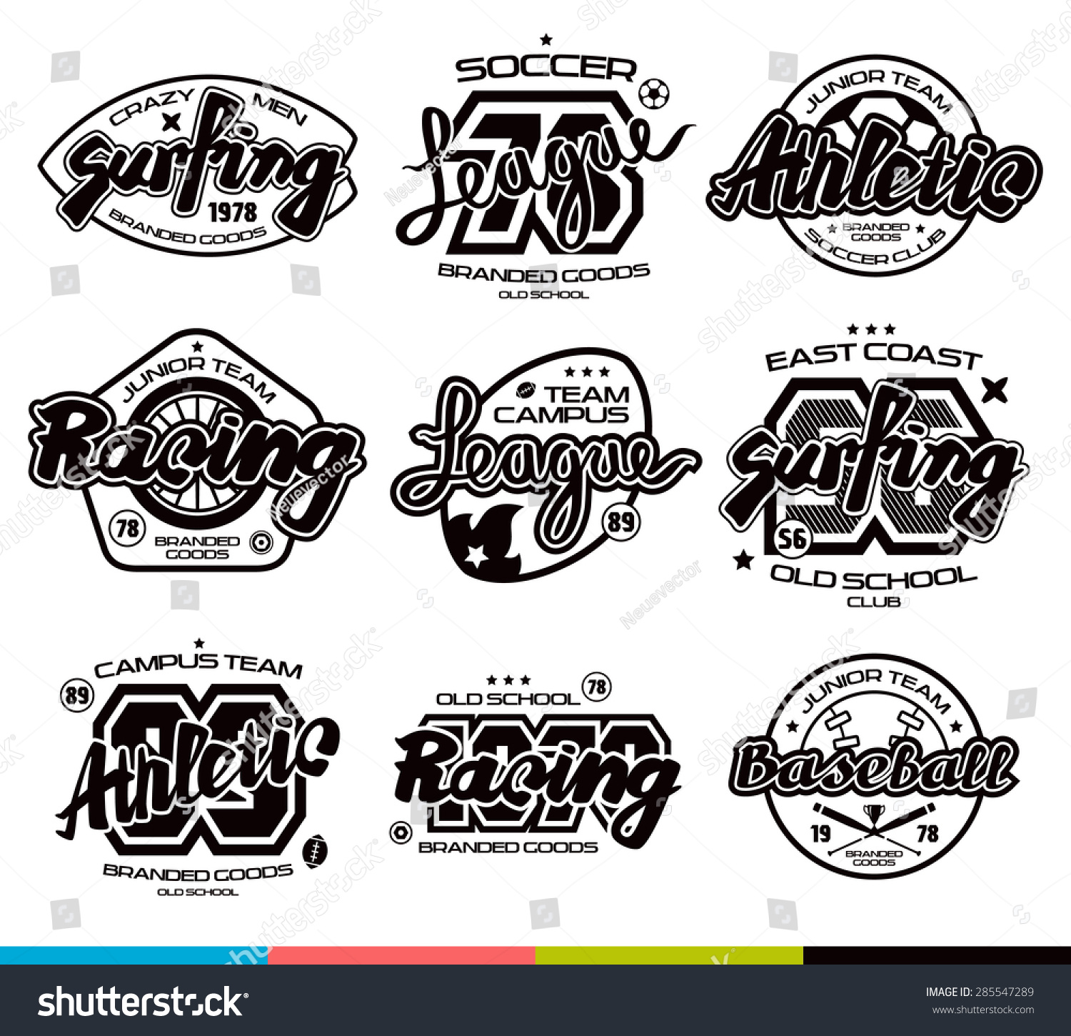 set sport badges surfing racing baseball stock vector 285547289