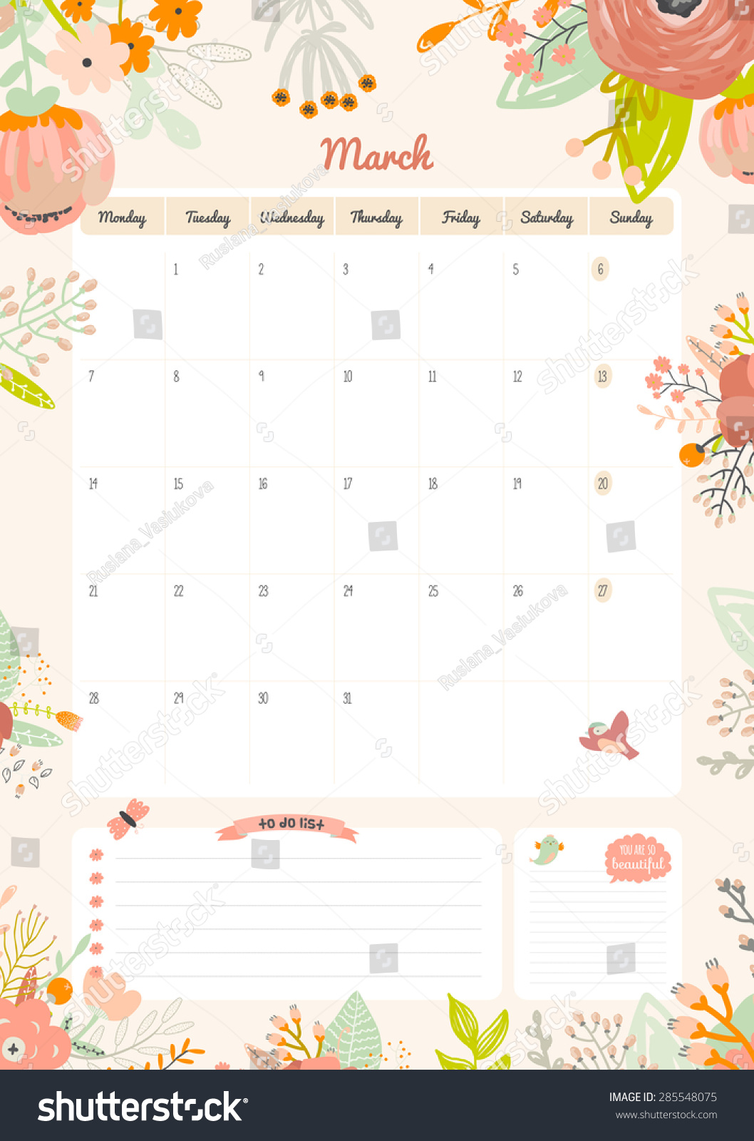 Cute Calendar Illustration : Cute calendar template beautiful diary stock vector