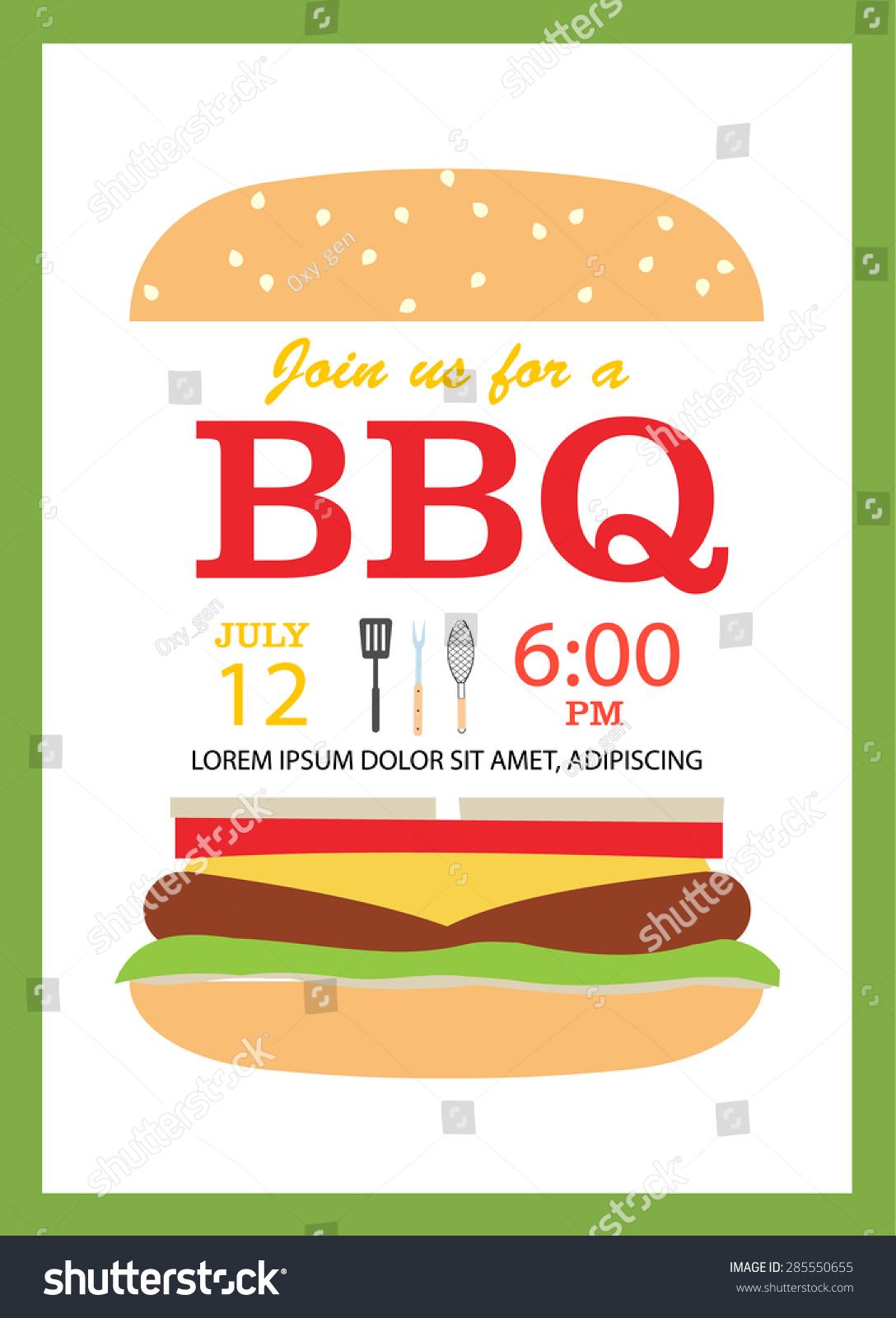 Bbq Party Invitation Card Hamburger Cooking Stock Vector 285550655 ...