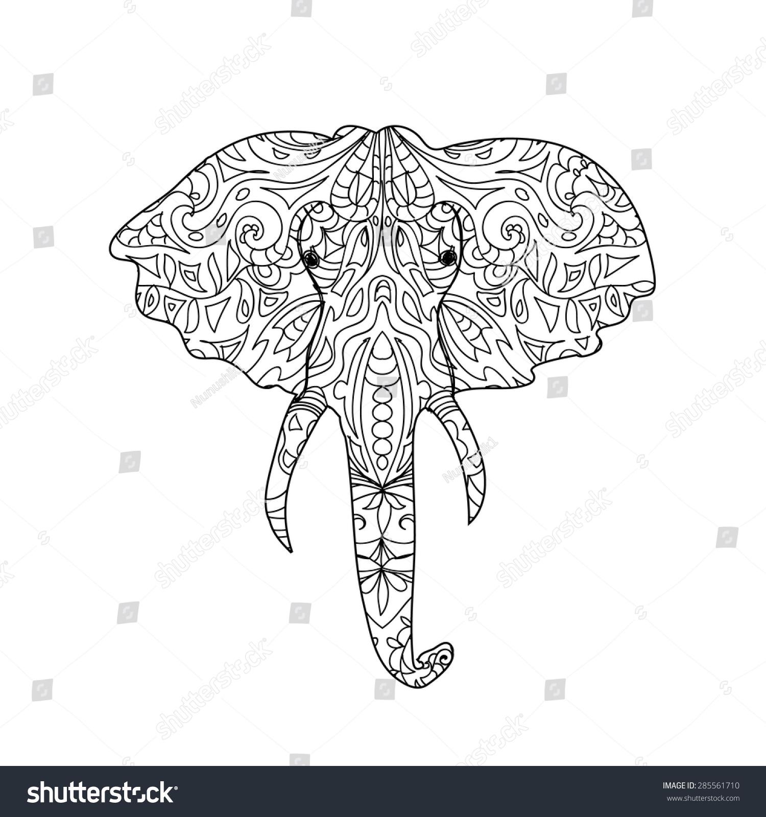 Elephant Head Zentangle Stock Vector 285561710