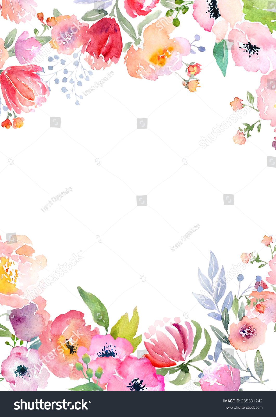 Card Template Watercolor Roses Blank Space Stock Illustration