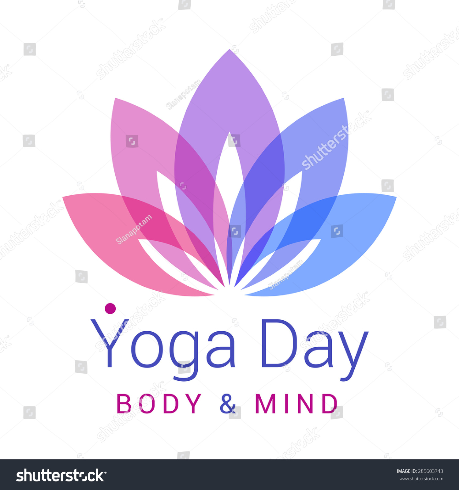 Colorful Five Petals Lotus Flower As Symbol Yoga Sample Text Yoga Day