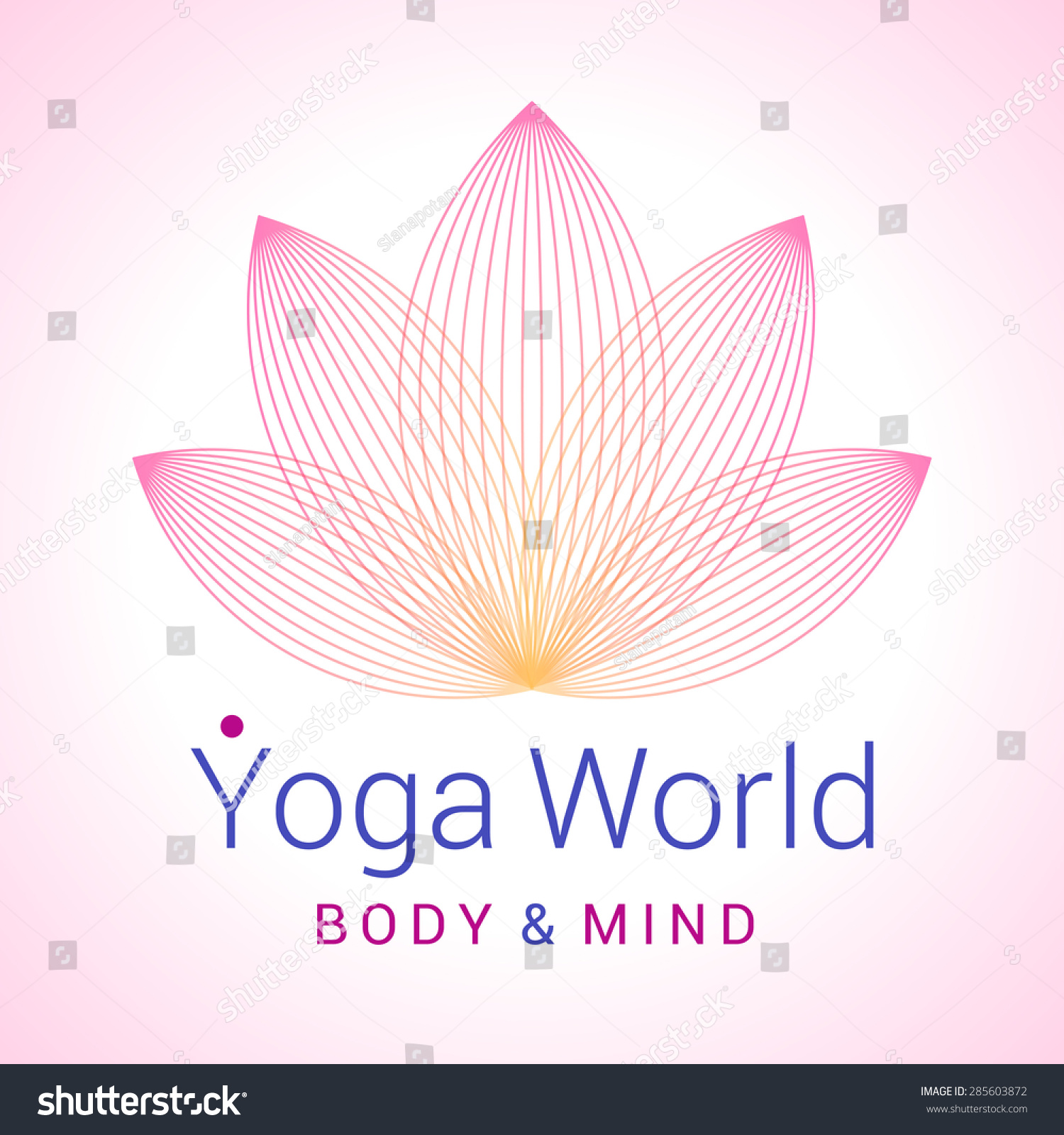 Colorful Fivepetals Lotus Flower Symbol Yoga Stock Vector Shutter