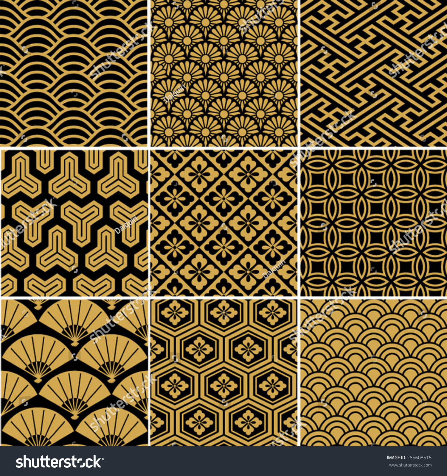 Seamless Vector Pattern Set Traditional Japanese Stock