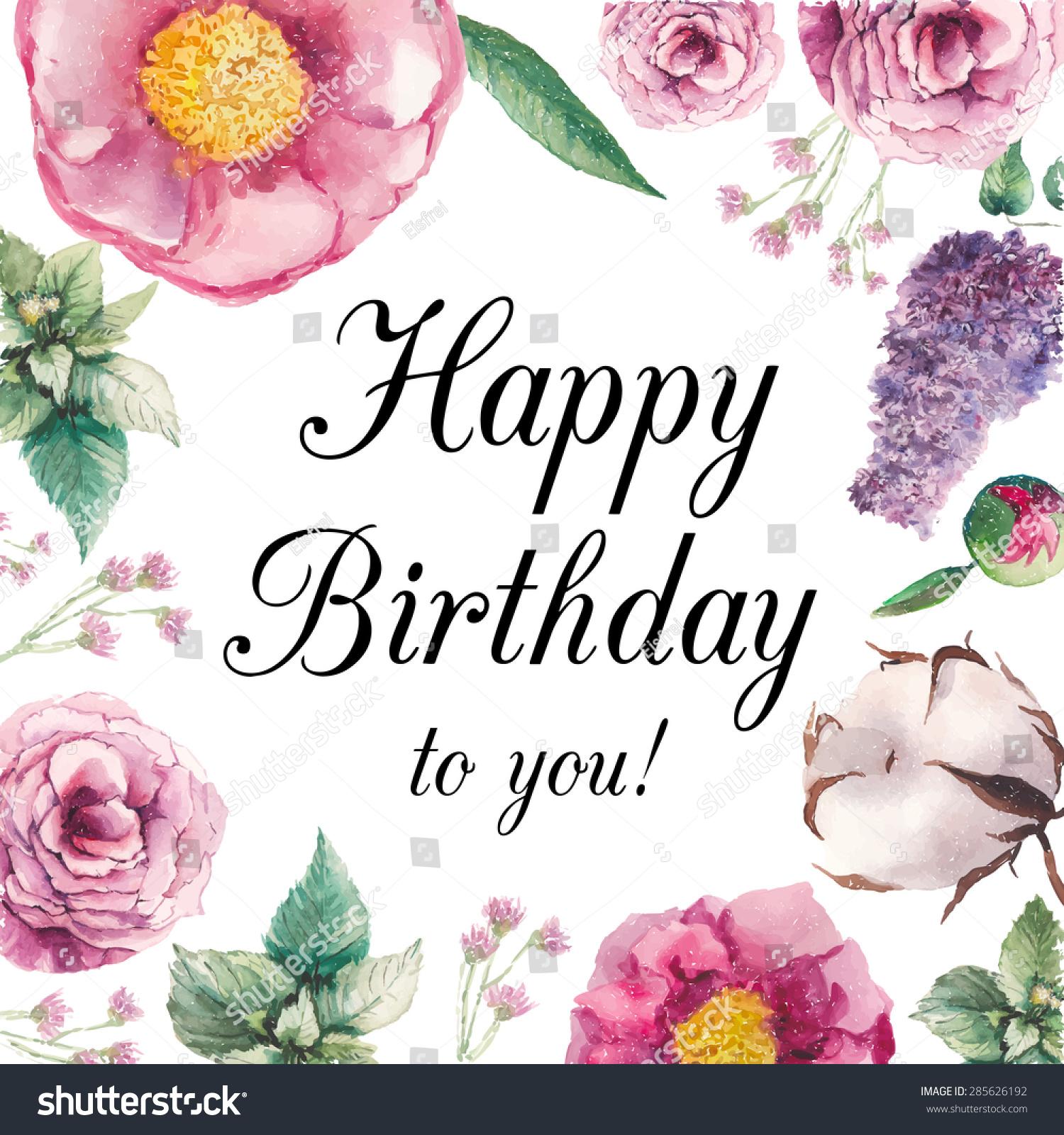 Royalty Free Watercolor Garden Floral Happy Birthday 285626192
