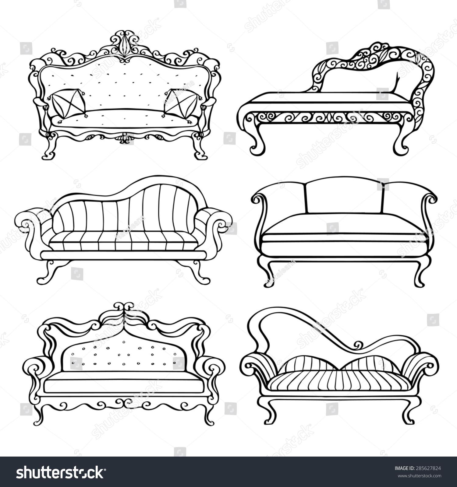 Furniture Hand Drawn Set Vintage Sofa Stock Illustration 285627824