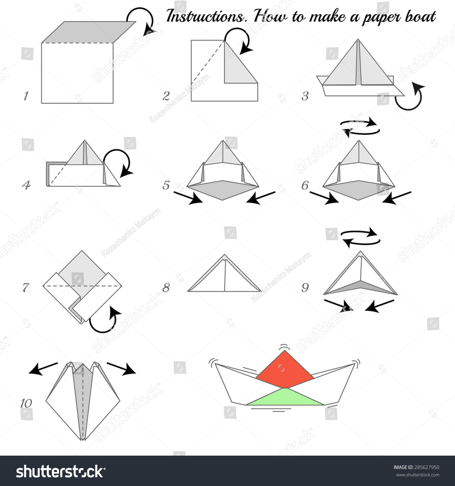 Instructions How Make Paper Ship Paper Stock Vector Royalty Free